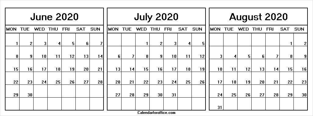June July August 2020 Calendar Weekdays Only - Calendar For pertaining to Calendar With Only Weekdays Image