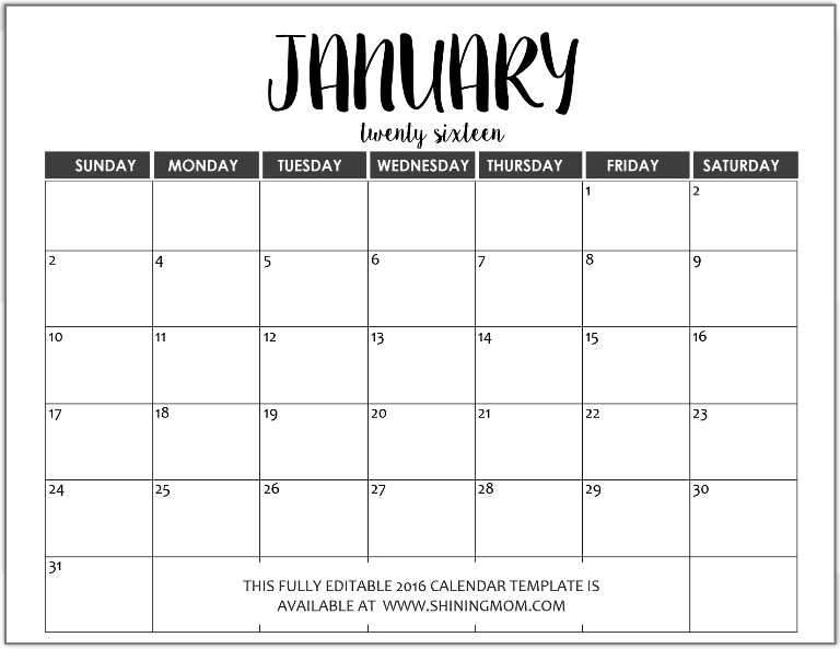 Just In: Fully Editable 2016 Calendar Templates In Ms Word in Free Calendar Typeable Template