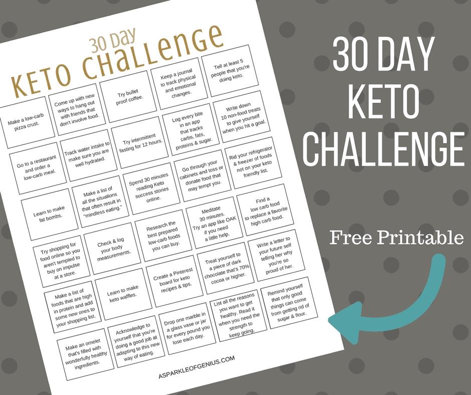 Keto 30 Day Challenge Printable- Free Keto 30 Challenge inside 90 Dayketo Challenge Printable