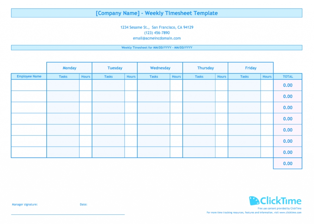Labor Hour Tracking Spreadsheet Free Printable Weekly in Free Printable Employee Vacation Schedule Image