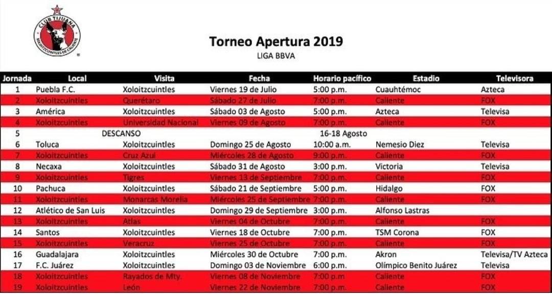 Listo Calendario De Xolos Para El Apertura 2019 inside Xolos De Tijuana Calendario Image