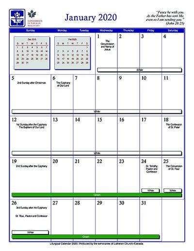 Liturgical Calendar 2020 - The Canadian Lutheranthe Canadian within Altar Paraments Calendar Image