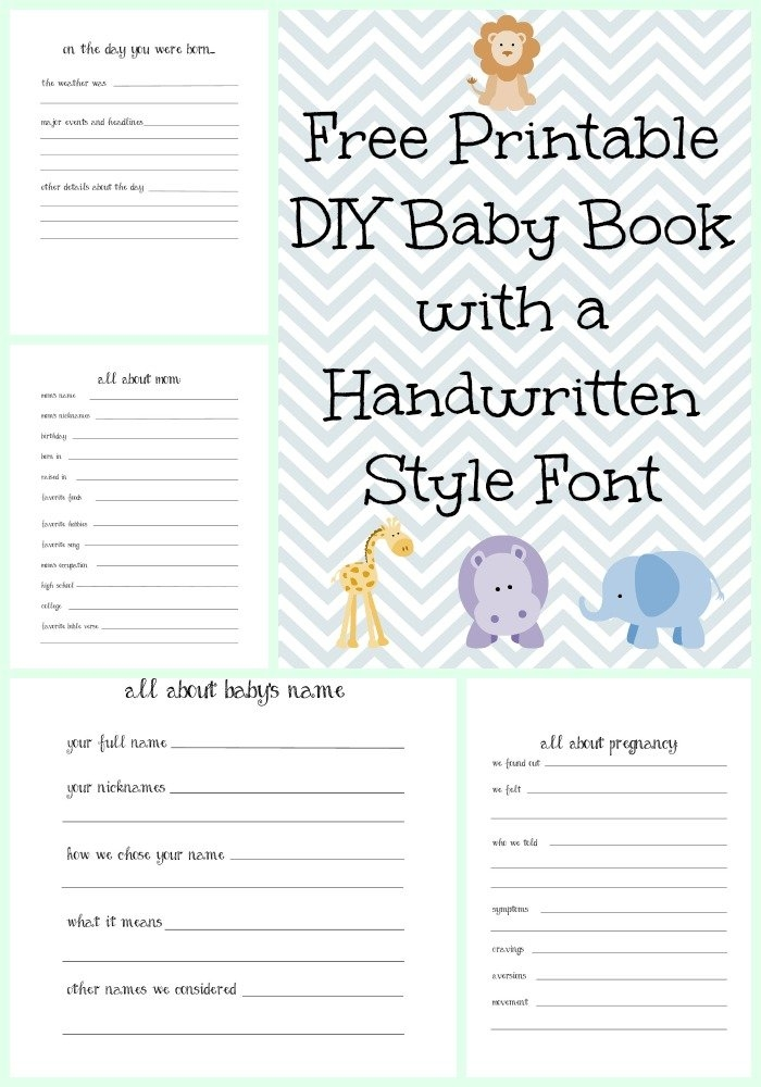 Make A Diy Baby Book With A Handwritten Style Font With Free with regard to Free Template For Baby Due Dates