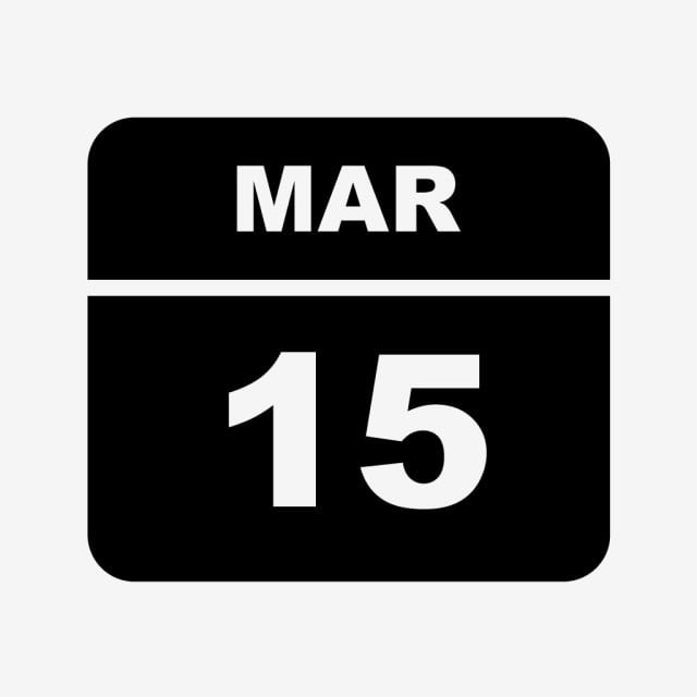 March 15Th Date On A Single Day Calendar, Calendar Icons intended for Single Day Calendar Image