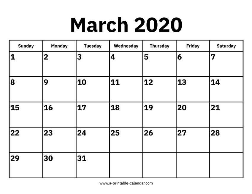 March 2020 Calendar in Free Calendar Templates Printable 11In By 17 In Graphics