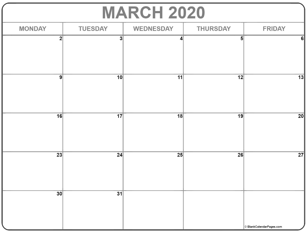 March 2020 Monday Calendar | Monday To Friday In 2020 inside Monday Through Friday Calendar Images Photo