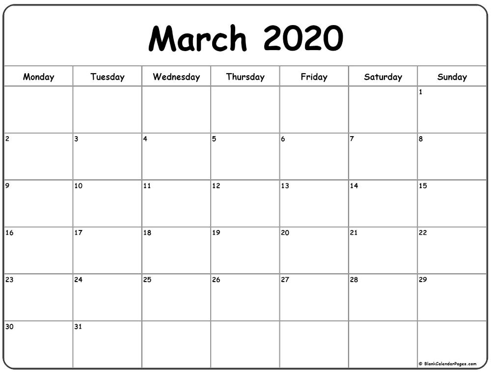 March 2020 Monday Calendar | Monday To Sunday In 2020 in Print Monday Through Sunday Calendar