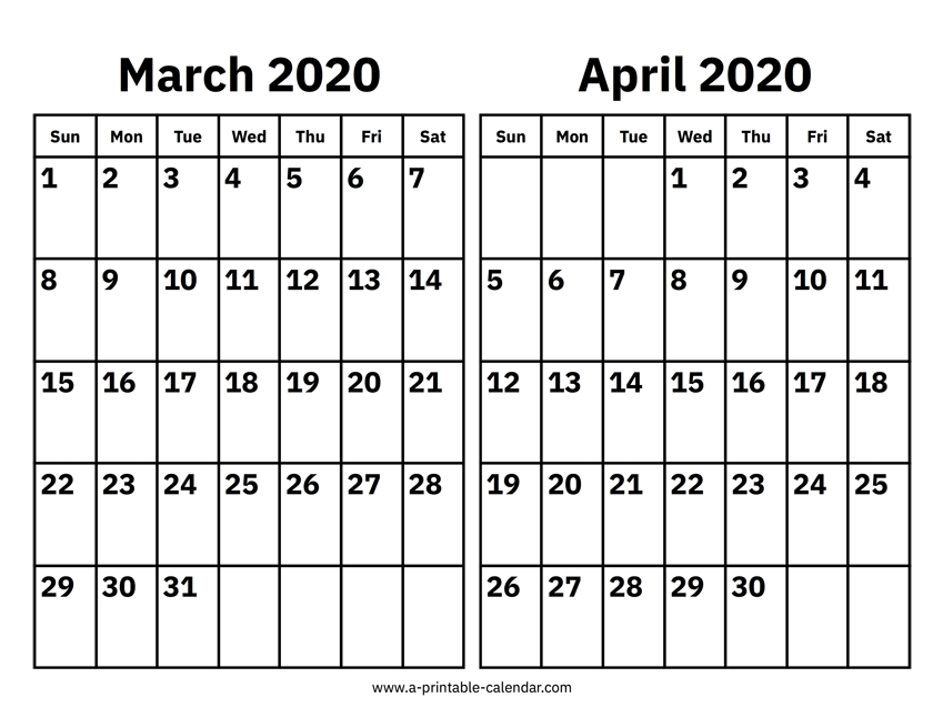 March And April 2020 Calendar – Printable Calendar 2020 intended for Free Printable Monthly Calendar 2-020