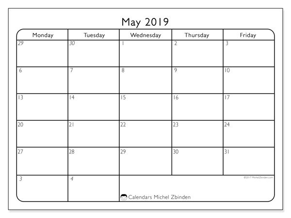May 2019 Calendar (74Mf) - Michel Zbinden En within Calendar With Only Weekdays