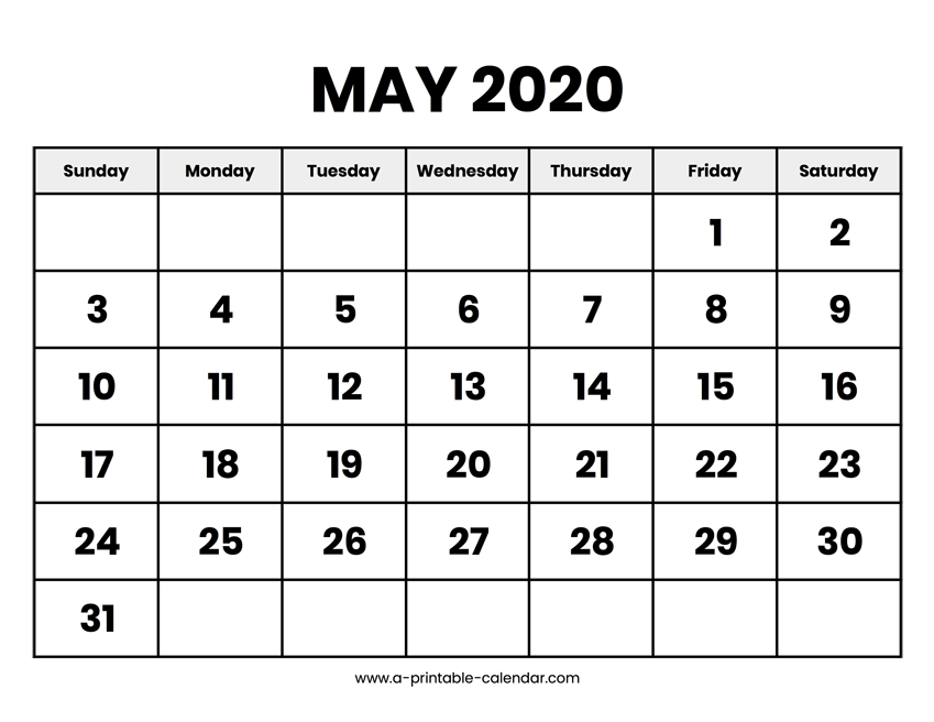 May 2020 Calendar Printable for 8 X 11 Printable Calendar
