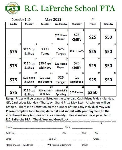 May Calendar Raffle – Purchase Tickets Today! regarding Fundraising Lottery Calendars Graphics