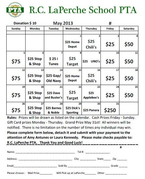 May Calendar Raffle – Purchase Tickets Today! with Daily Number Lottery Fundraiser Tickets Photo