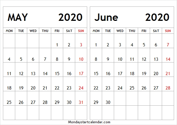 May June 2020 Calendar Free Template | May Jun Calendar 2020 within Calendar With Only Weekdays Image