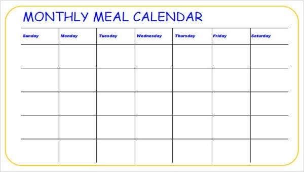 Meal Calendar Templates - 10+ Free Word, Pdf Format Download regarding 90 Days Pdf Calendar Photo