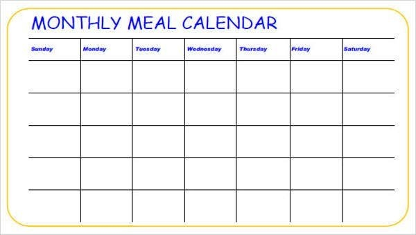 Meal Calendar Templates - 10+ Free Word, Pdf Format Download with regard to 10 Day Schedule Format Image
