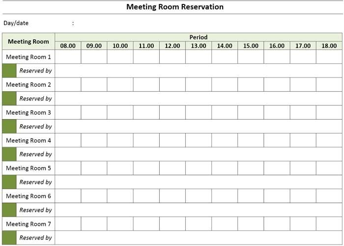 Meeting Room Booking & Reservation Template Excel in Calendar Template For Scheduling A Conference Room
