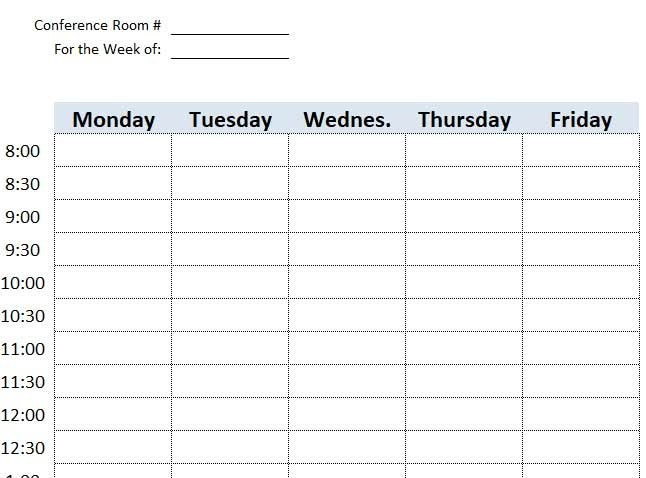 Meeting Room Booking & Reservation Template Excel with Calendar Template For Scheduling A Conference Room