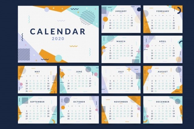 Memphis 2020 Calendar Template | Free Vector for Calendar Photo