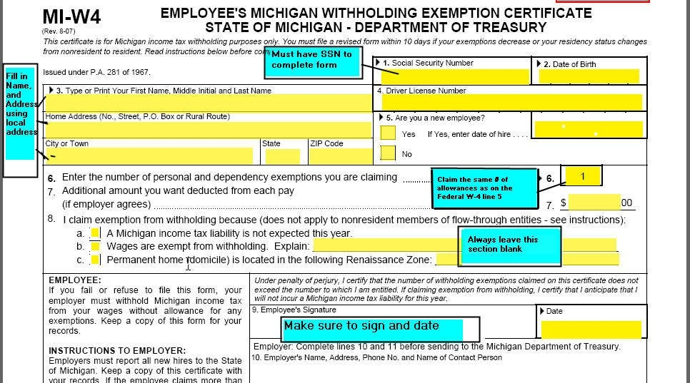 Michigan W-4 Form And Instructions For Nonresident Aliens in State Of Michigan Payroll Calendar