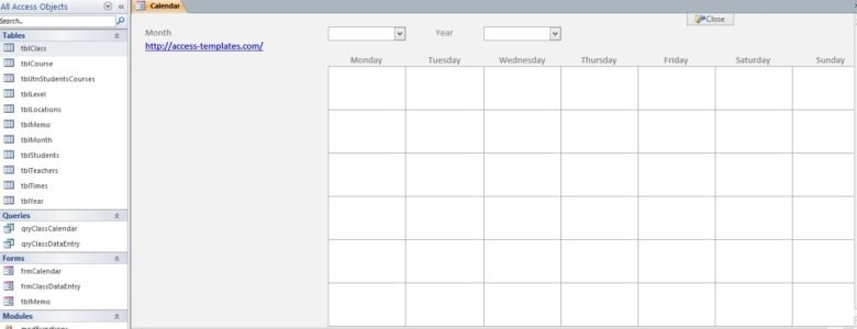 Microsoft Access Calendar Database Template – Microsoft in Microsoft Access Calendar Scheduling Databas