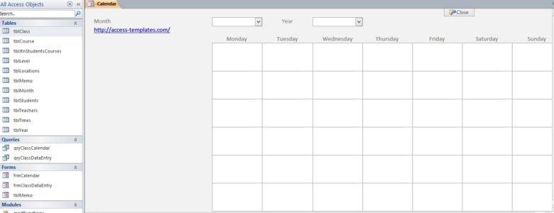 Microsoft Access Calendar Database Template – Microsoft intended for Ms Access Calendar Template Graphics