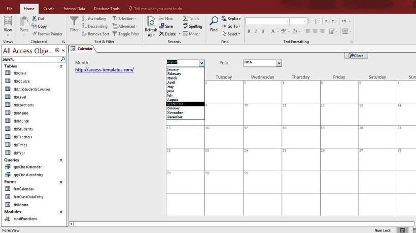 Microsoft Access Calendar Form Template - Free Download And in Calendar Database For Ms Access