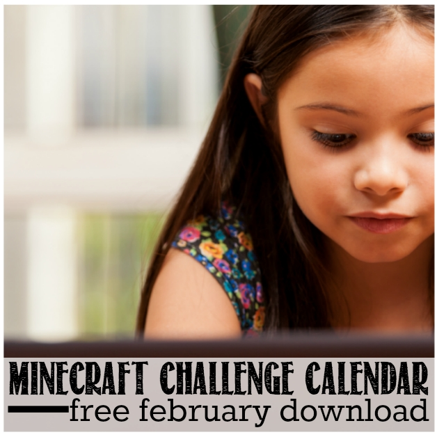 Minecraft Challenge Calendar For February | Free Download within Minecraft Free Calendar Image