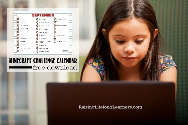 Minecraft Challenge Calendar | Free September Download inside Minecraft Free Calendar Image