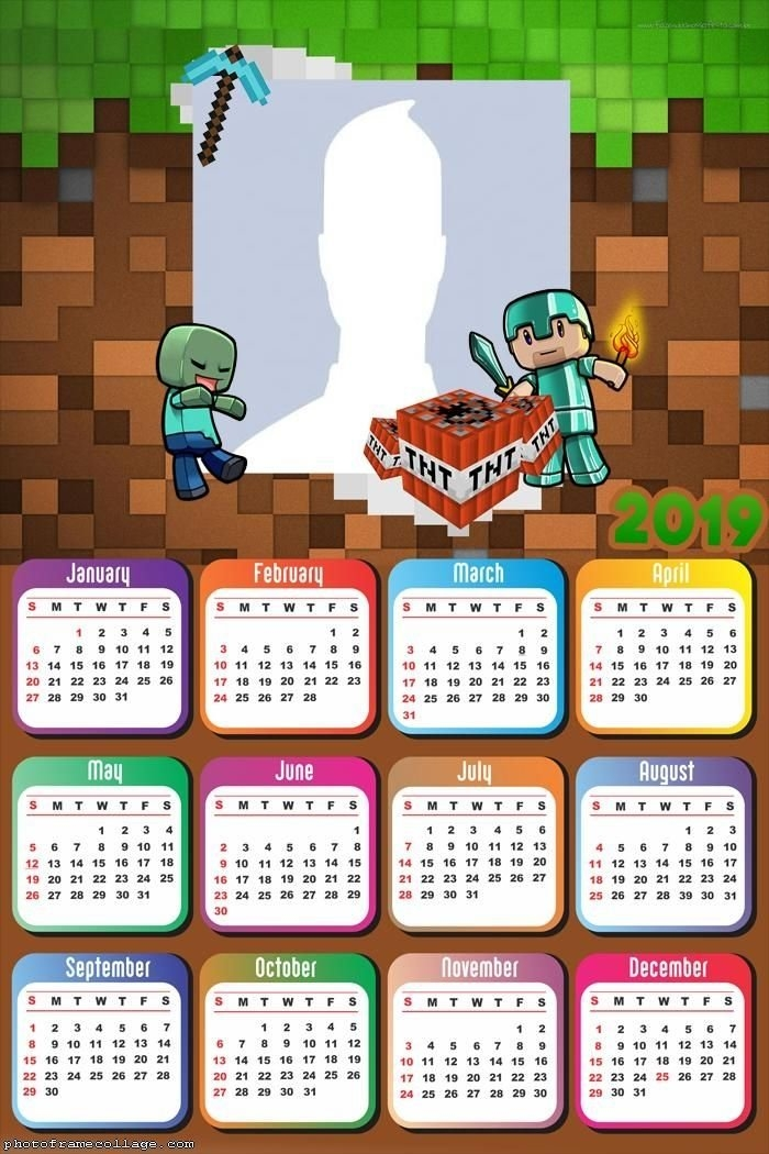 Minecraft Pocket Edition Calendar 2019 Frame Photo Montage intended for Minecraft Free Calendar Image