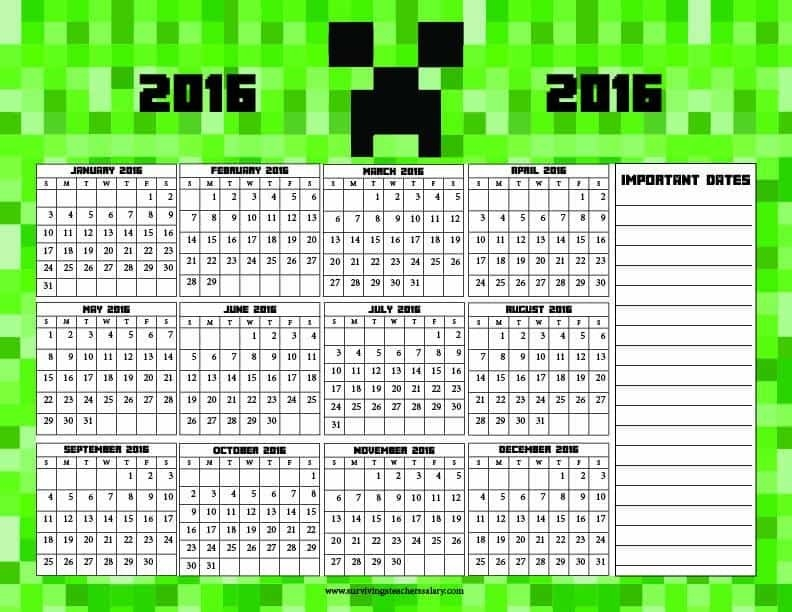 Minecraft Printable Calendar - At A Glance 2016 in Minecraft Free Calendar