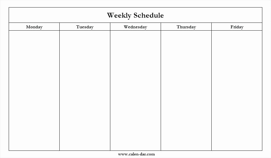 Monday Through Friday Hourly Calendar Awesome Mon Friday throughout Monday Friday Calendar Template Printable Graphics