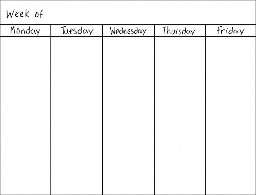 Monday Thru Friday Printable Calendar | Blank Weekly pertaining to Monday Friday Calendar Template Printable Graphics
