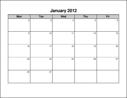 Monday+Through+Friday+Blank+Calendar | Calendar Printables intended for Free Printable Calendar Monday Thru Sunday Image