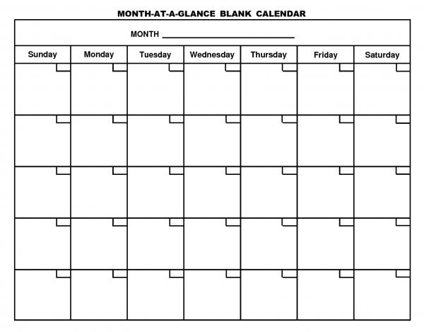 Month At A Glance Calendar | Desktop Calendar | Blank with Plain Calendar Printable Image
