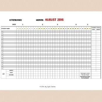 Monthly Attendance Sheet (Editable) | Attendance Sheet pertaining to Editable Attendance Calendar For Teachers Photo