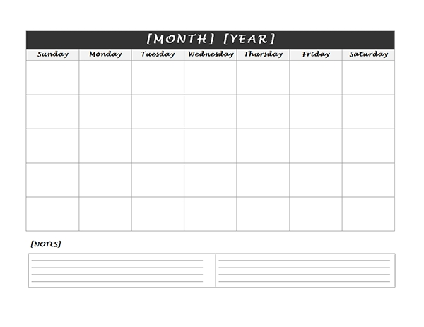 Monthly Blank Calendar With Notes Spaces | Free Calendar within Printable Calendar Large Spaces Image