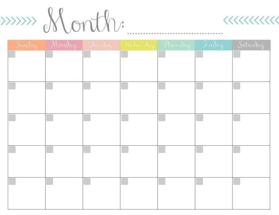 Monthly Calendar {Free Printable} inside Monthly Calendar Printable Image