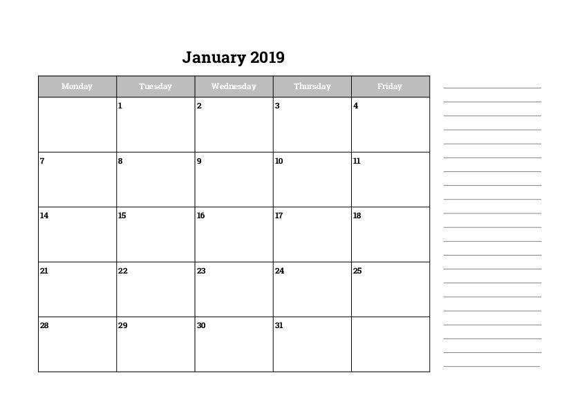 Monthly Monday Through Friday 2019 Calendars - Free pertaining to Monday Through Friday Calendar Images Photo