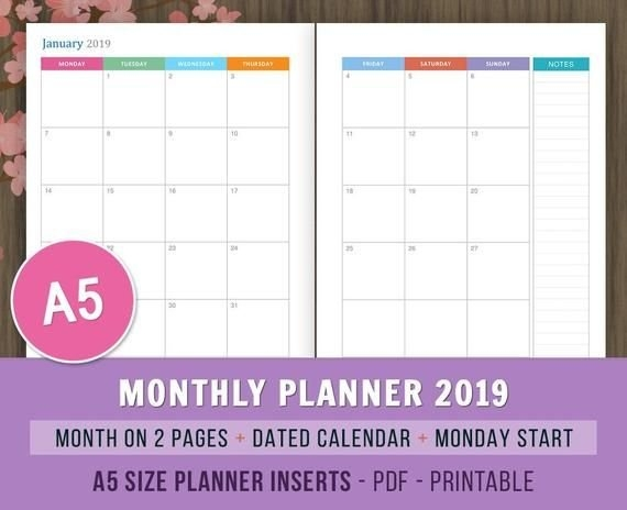 Monthly Planner 2019, Monday Start, Printable Planner with Free Printable Short Timer Calander