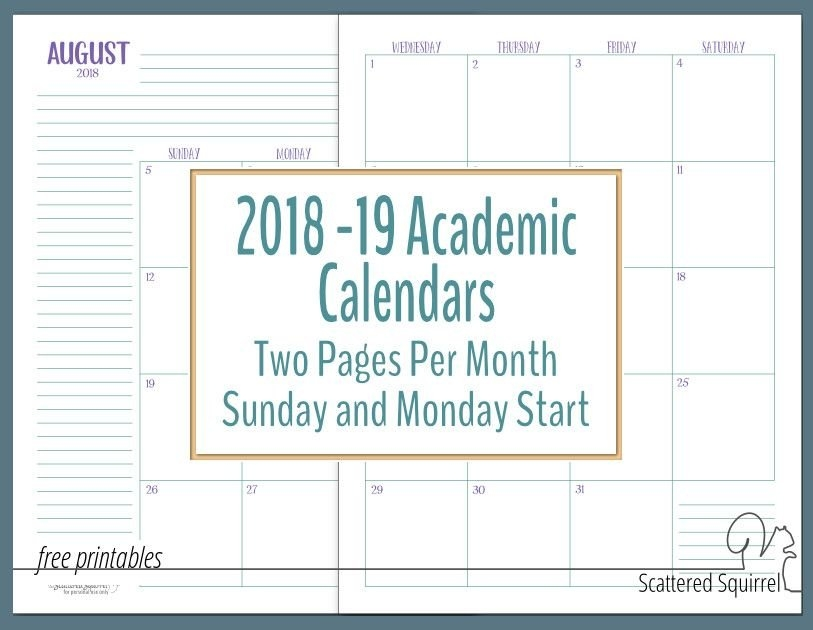More Dated Academic Calendars (With Images) | Academic pertaining to Scattered Squirrel 2 Page Month Happy Planner