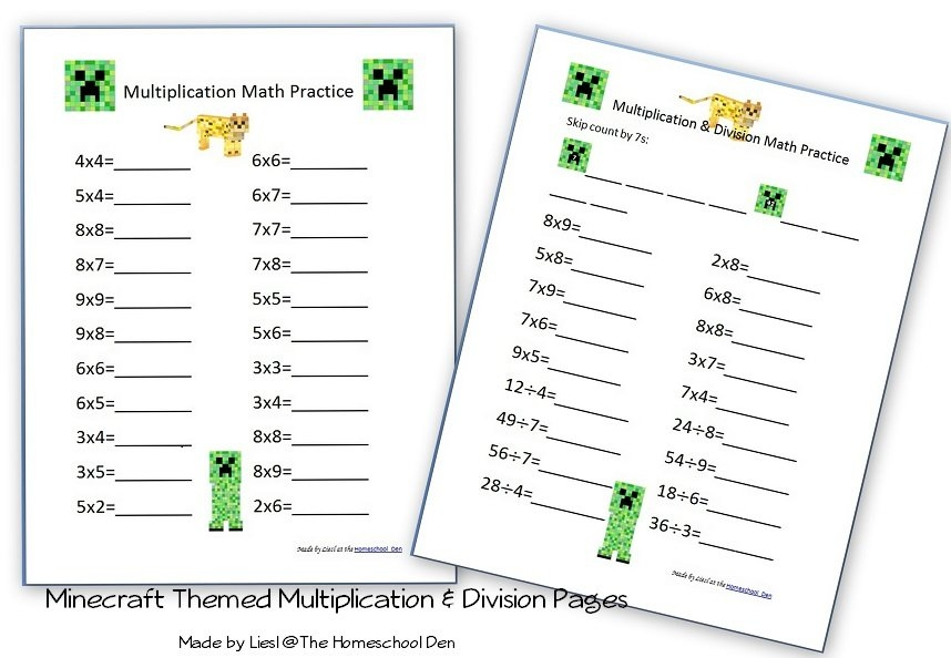 Multiplication & Division Pages With A Minecraft Theme regarding Minecraft Free Calendar