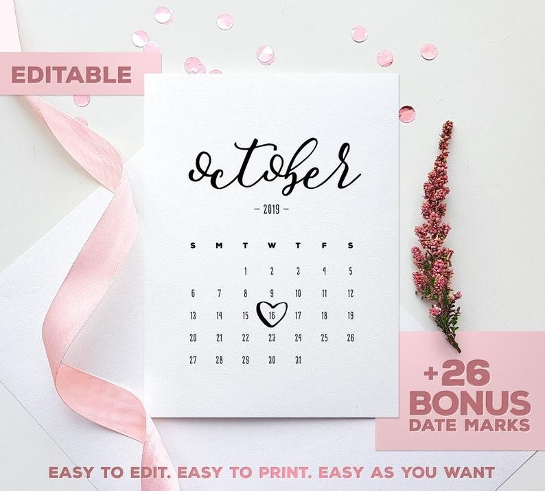 October 2019 Baby Due Date Announcement Printable Pregnancy Calendar Pdf  Jpg Due Date Baby Announce Birthday Heather Printable Calendar intended for Due Date Calender October Photo