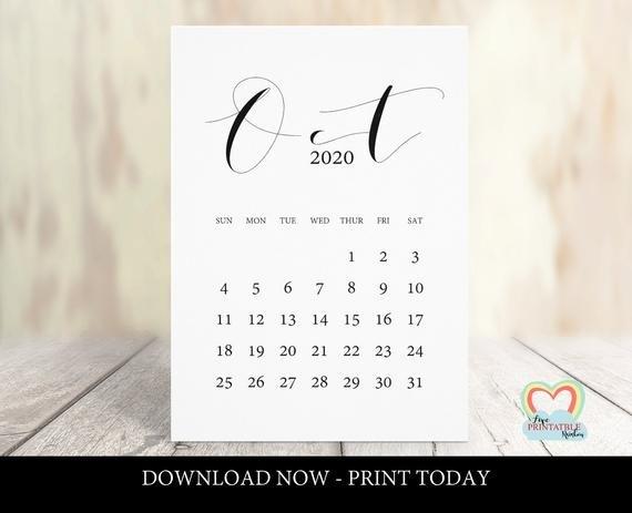 October 2020 Calendar Printable | Baby Due Date October 2020 | Pregnancy  Announcement October 2020 | Instant Download | Save The Date with Due Date Calender October Photo