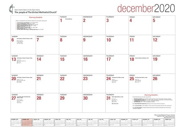 Official United Methodist Program Calendar 2021 Desk Blotter within Parament Schedule For Methodist Church