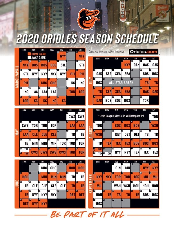 Orioles Announce 2020 Schedule - Masn News & Information in Red Sox Calendar Schedule
