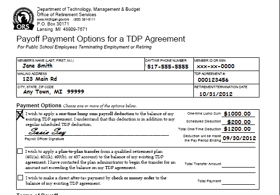 Ors Psru - 10.11.02: Pre-Tax Employer Payment For Service in State Of Michigan Payroll Schedule Image