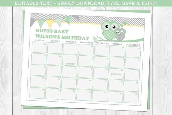 Owl Baby Due Date Calendar, Owl Baby Shower, Owls, Baby intended for Guessing Baby Due Date Image