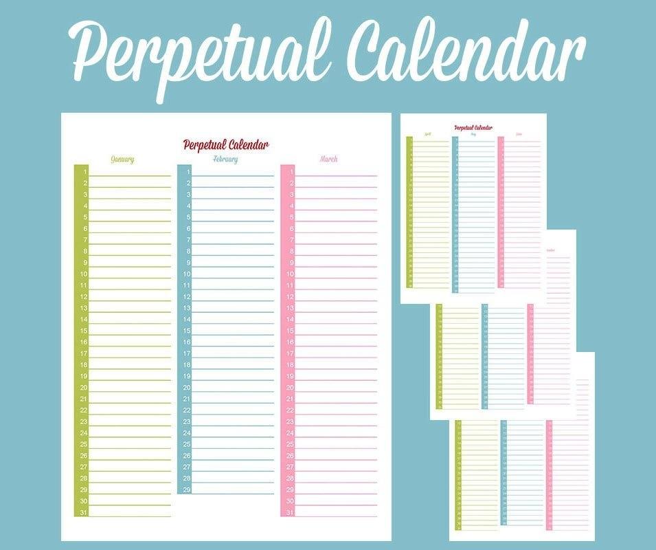 Perpetual Calendar - Calendar Template | Free & Premium regarding Free Perpetual Calendar Chart Graphics