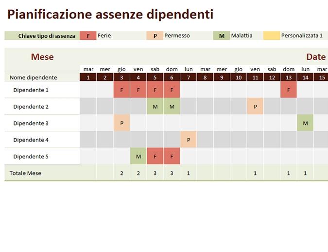 Pianificazione Assenze Dipendenti with regard to Piano Ferie Modelli Da Scaricare Image