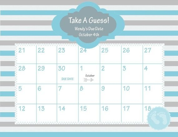 Pin On Baby Baby regarding Guess The Due Date Calendar Template